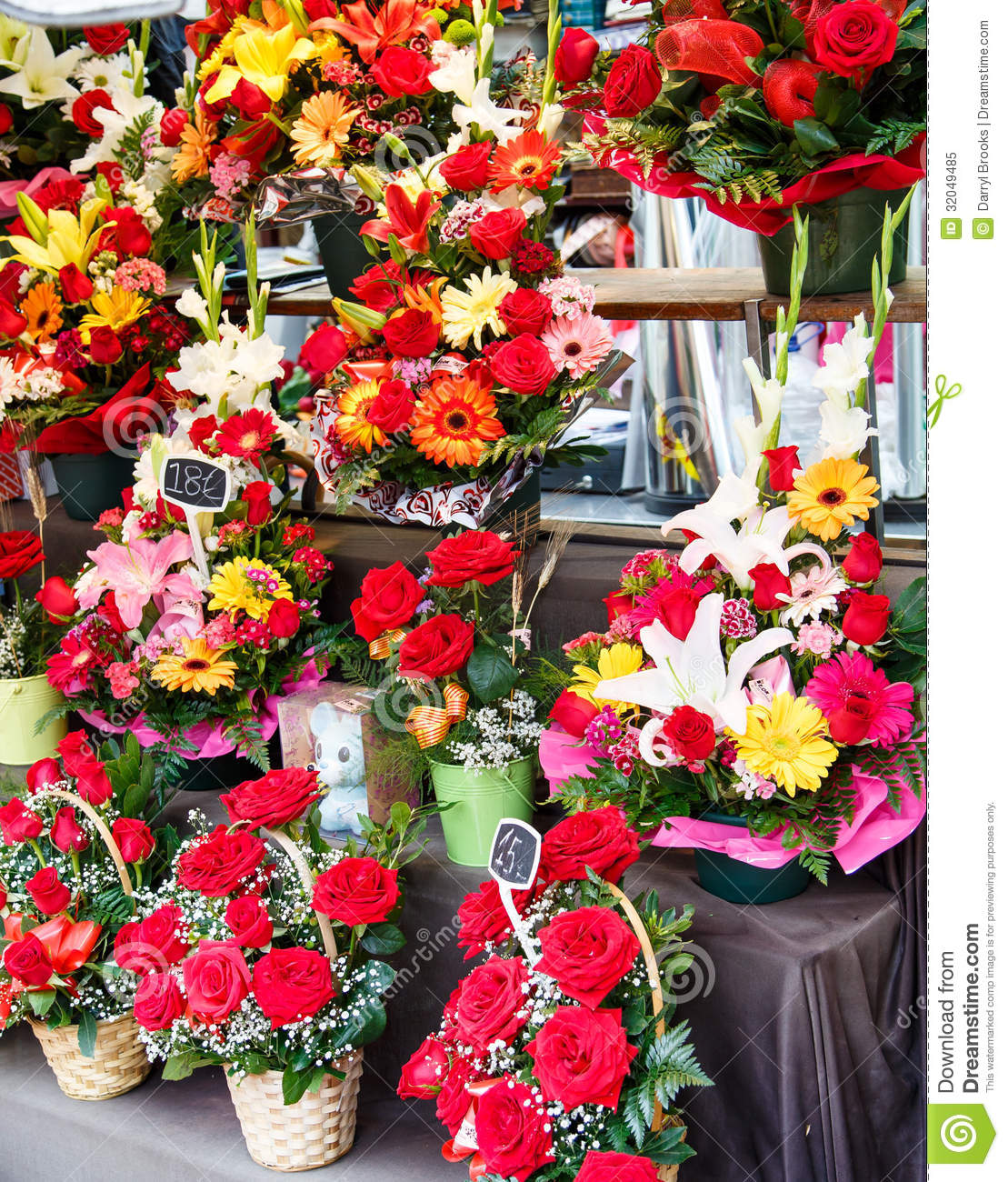 many bouquets in a flower shop stock image - image of lillies