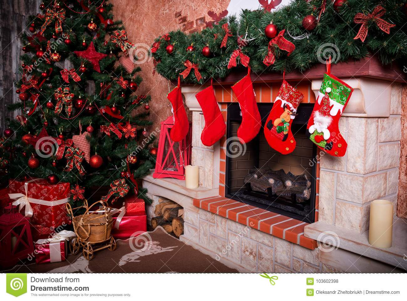Many Boxes With Christmas Gifts Under The Christmas Tree Stock Photo ...