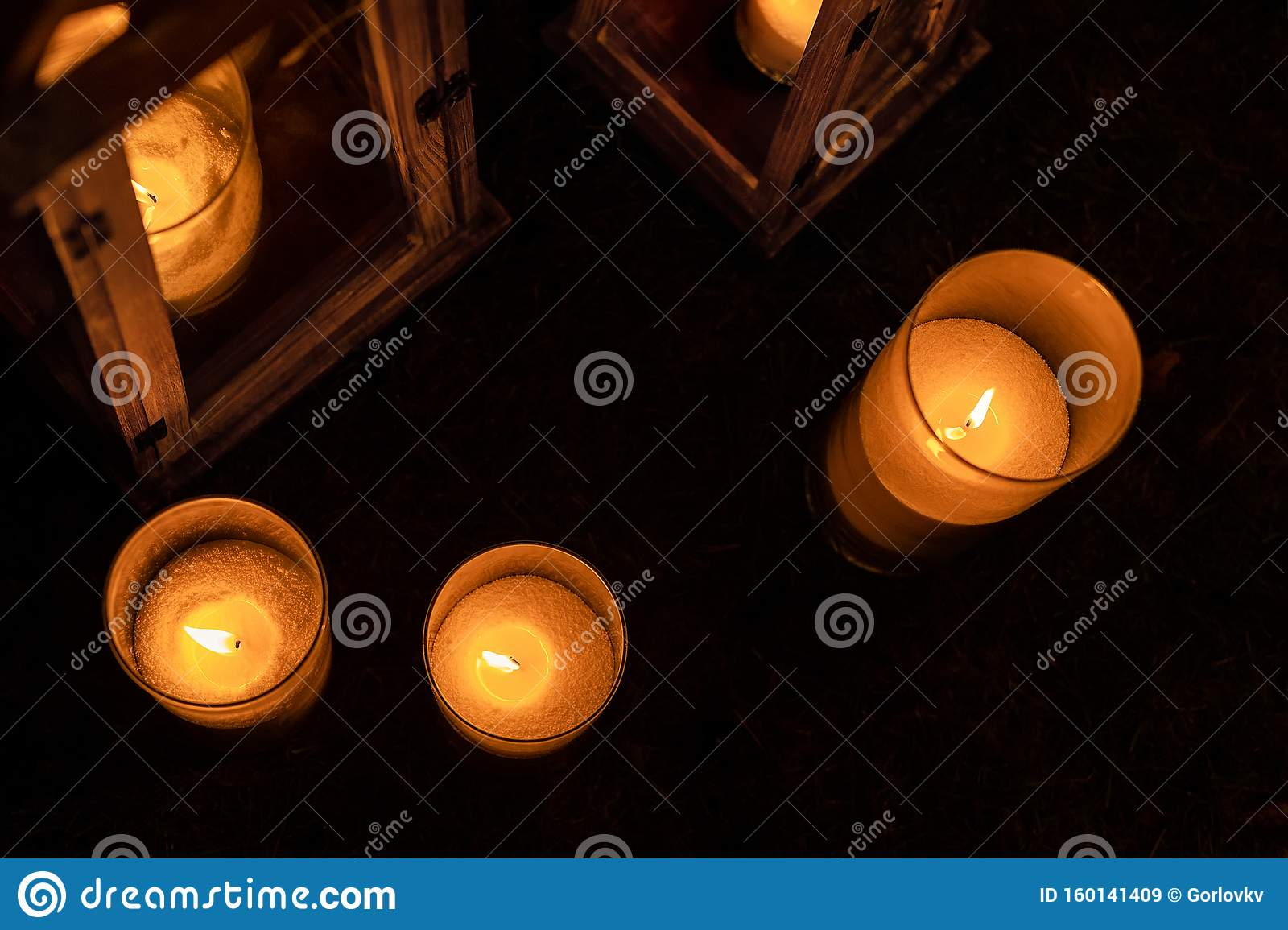 Many Burning Candles In Glass And Wooden Lanterns On Dark Ground Outdoor At Night Romantic Party Area Diwali Fire Holiday Stock Image Image Of Auspicious Deepavali 160141409