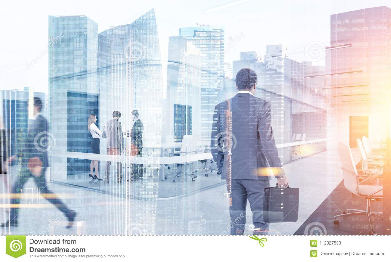 Business people walking in a modern city