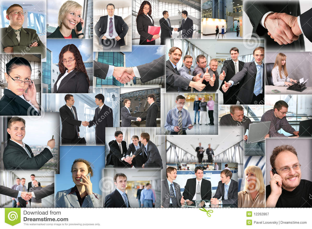 Download Many Business Pictures, Collage Stock Image - Image of patroness, happy: 12262867