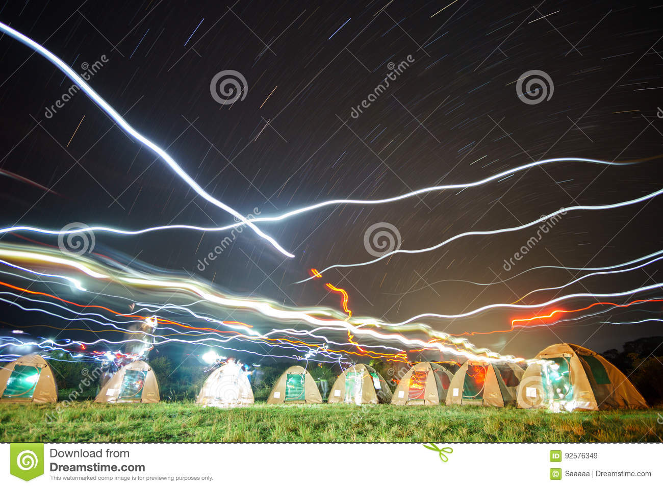 Many camping tents and lights at the african night