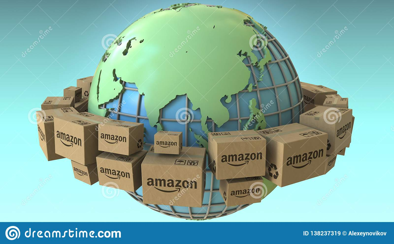 Many Cartons With AMAZON Logo Around The World, Asia Emphasized
