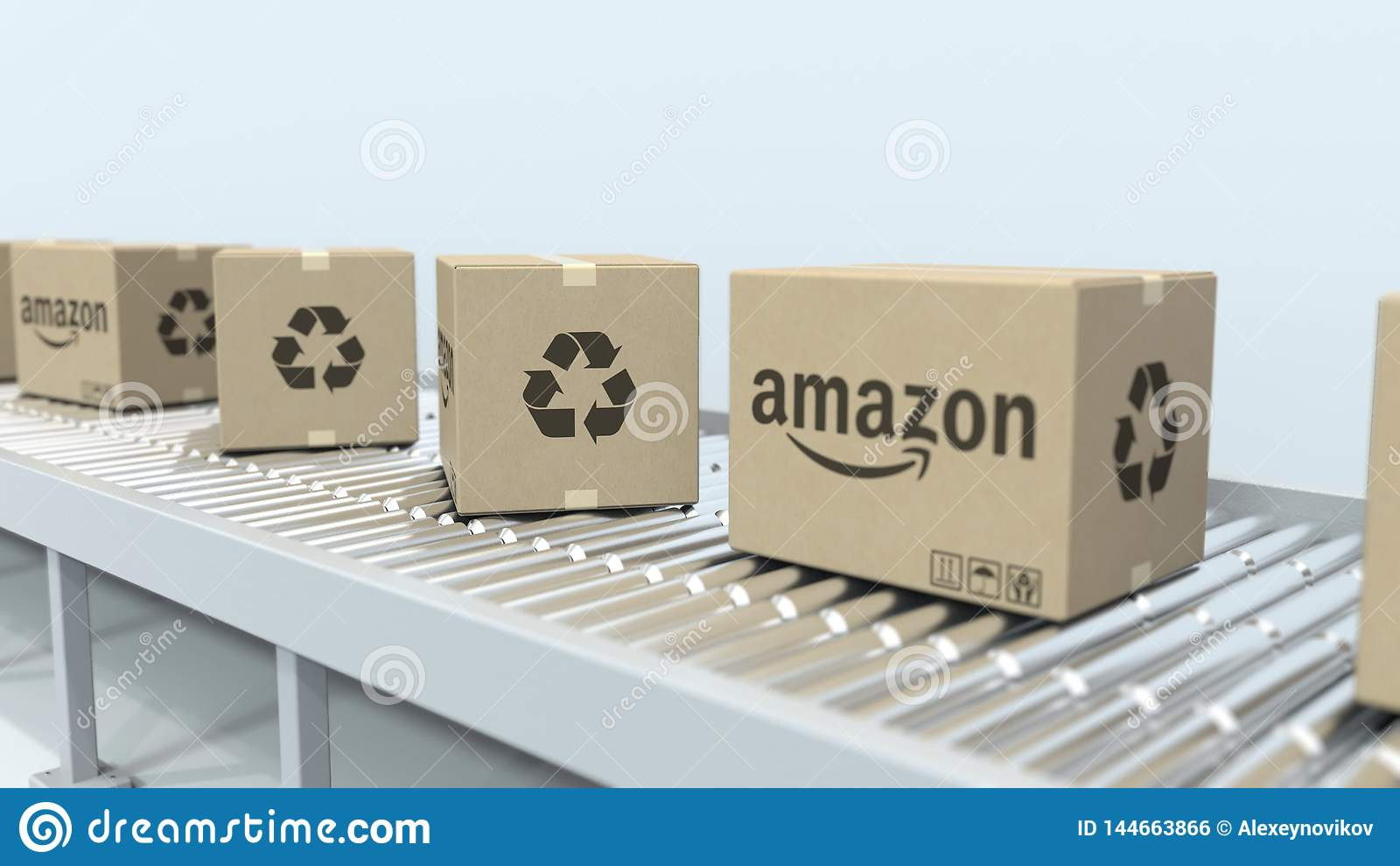 Boxes With AMAZON Logo Move On Roller Conveyor  Editorial 3D