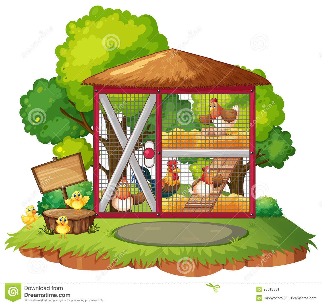 Many Chickens In The Coop Stock Vector Illustration Of Clipart