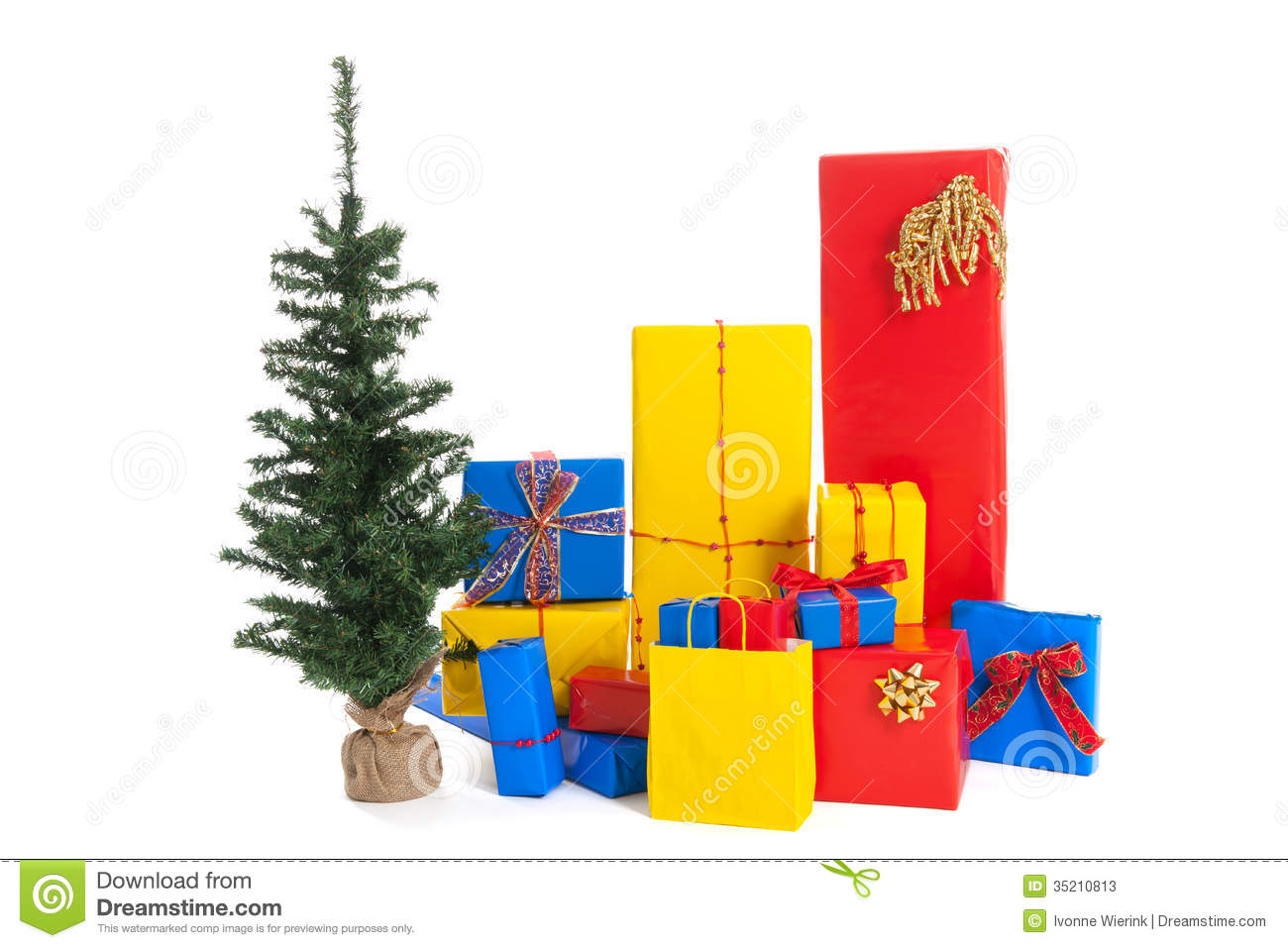 Many christmas gifts with tree stock photos image 35210813 for Red and yellow christmas tree