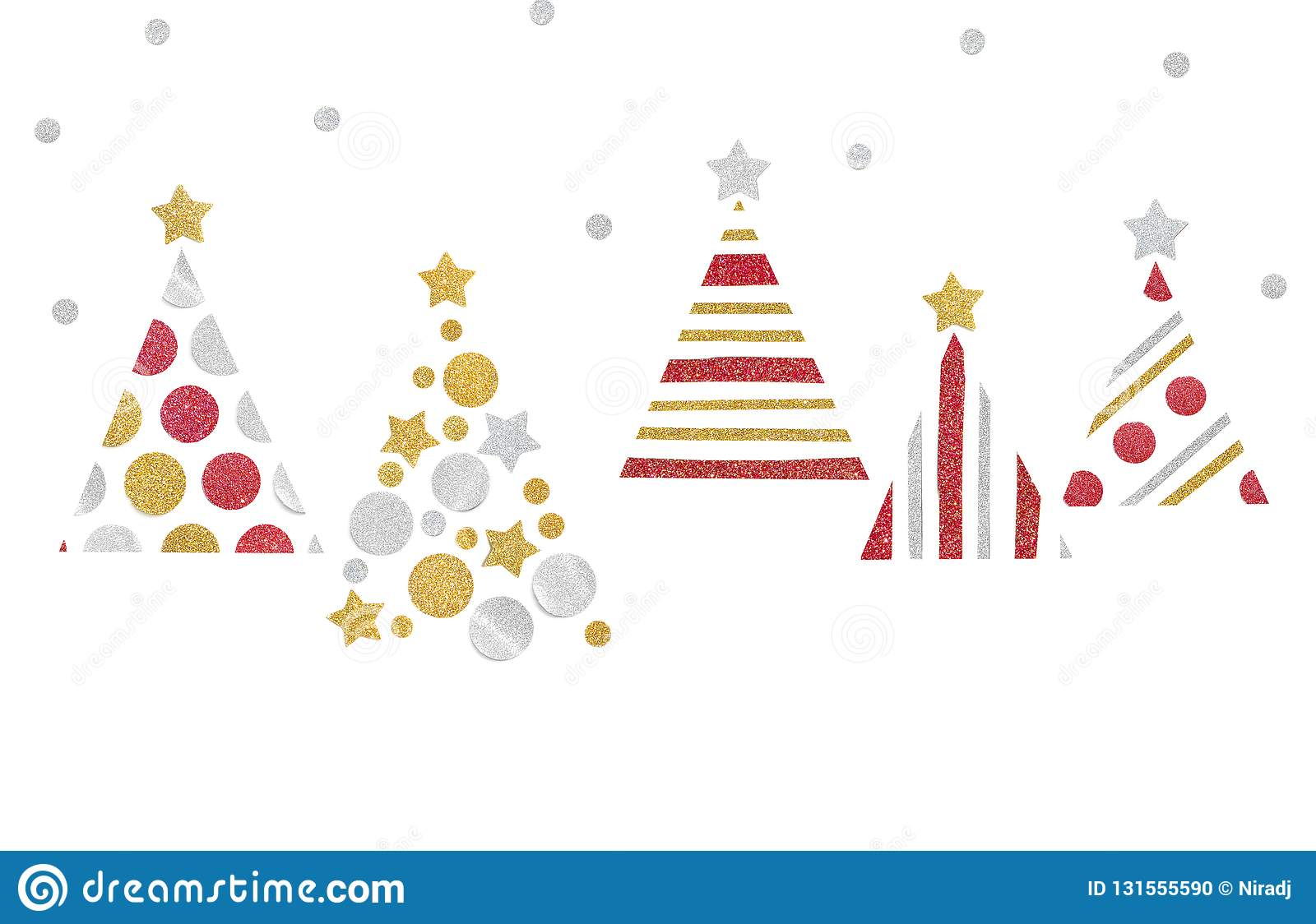 Many christmas trees paper cut on white background