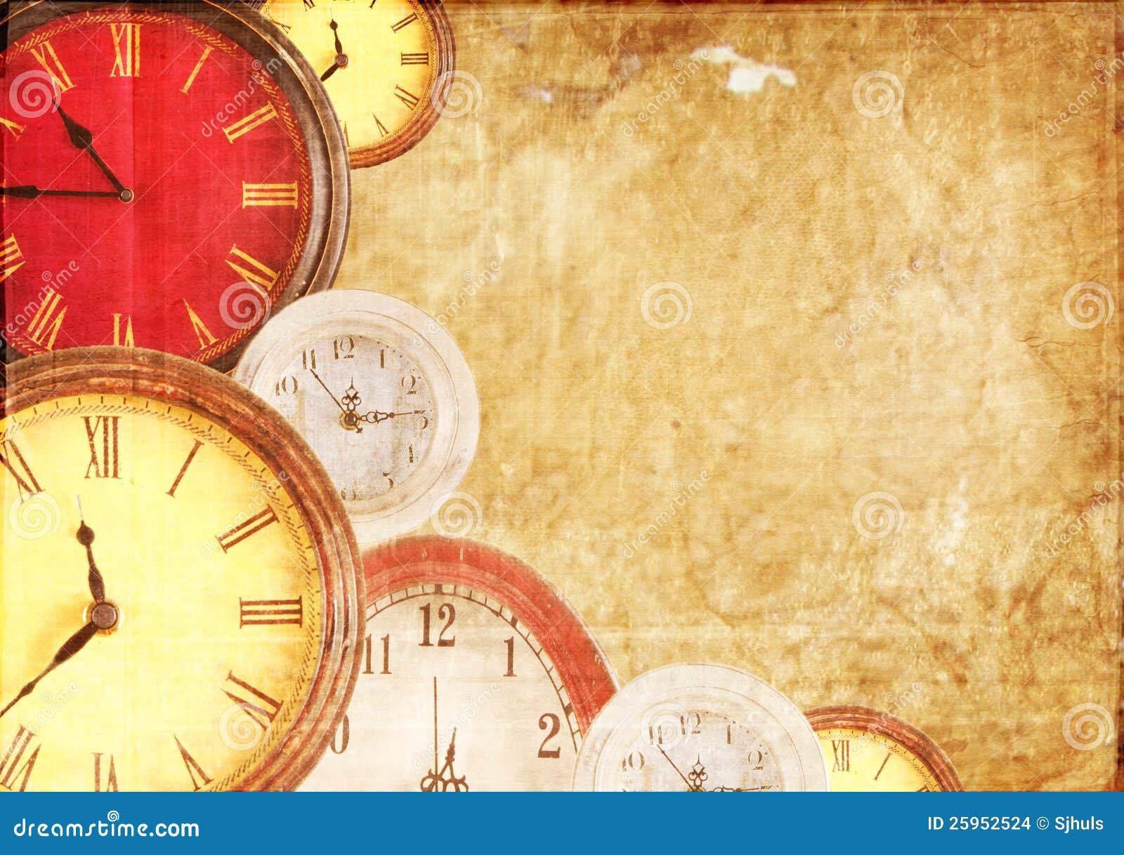 Many Clocks On A Paper Background Stock Photo Image