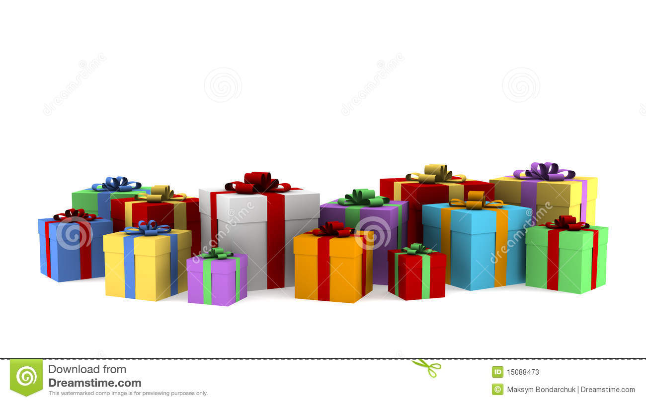 Many white gift boxes with color ribbon stock illustration many color gift boxes isolated on white background stock photos negle Gallery