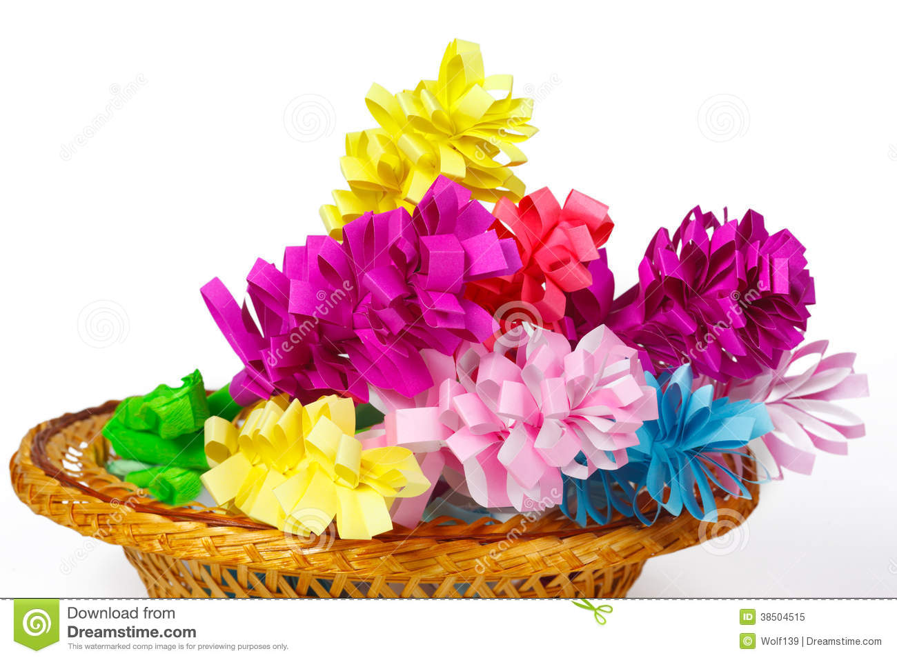 Many Colored Paper Flowers In A Basket Stock Image Image Of