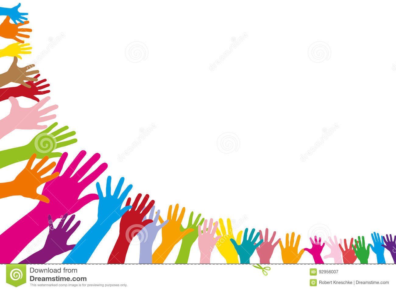 Many Colorful Hands In Half Circle Stock Illustration