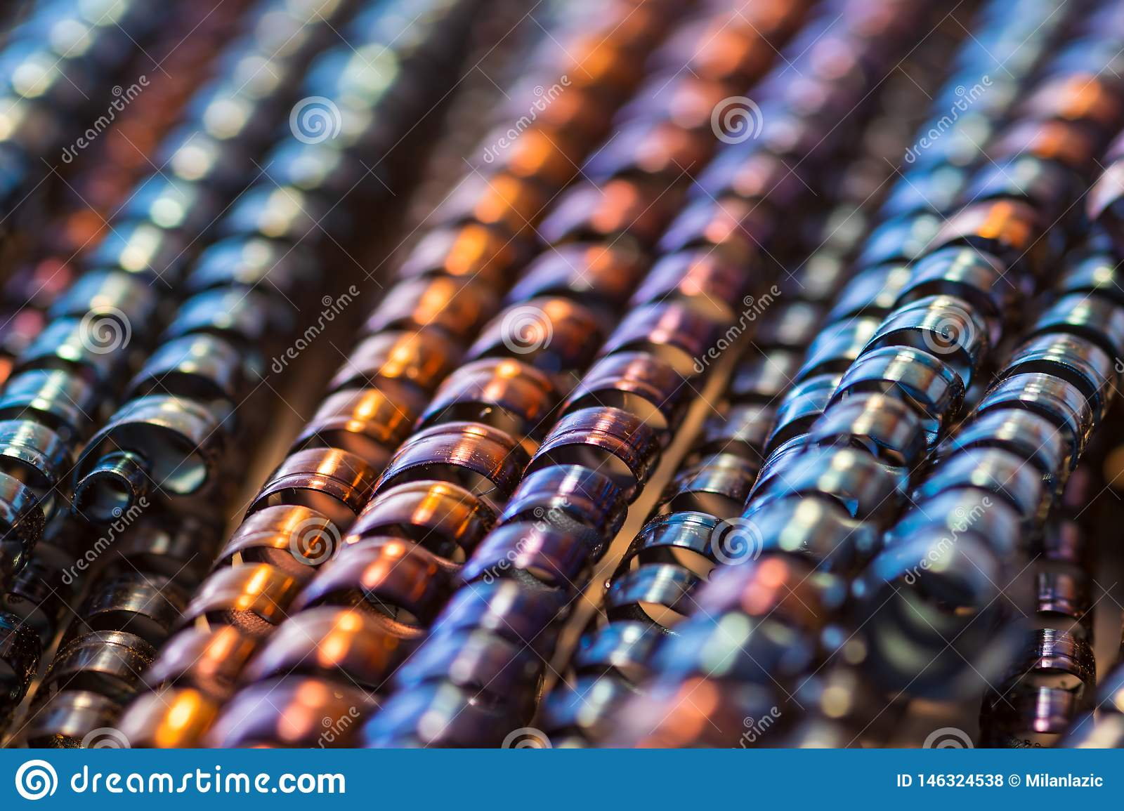 Many colorful metal spirals as a background
