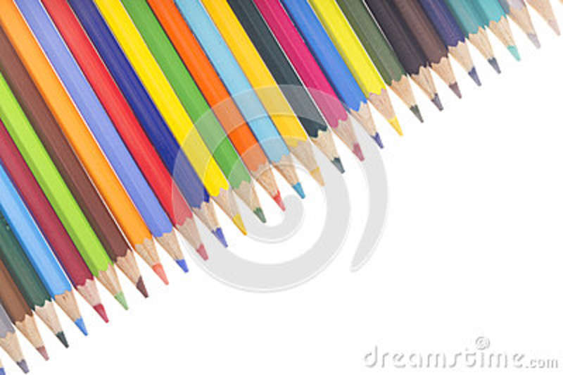 Many colorful pencils in a diagonal row