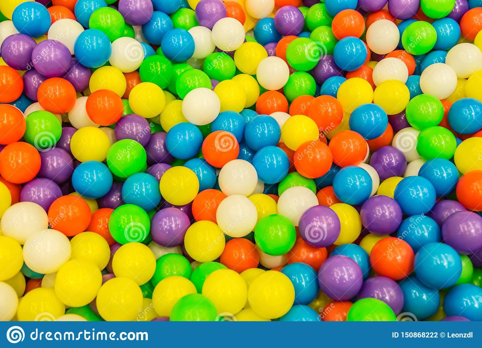 Lots colorful plastic balls for background view