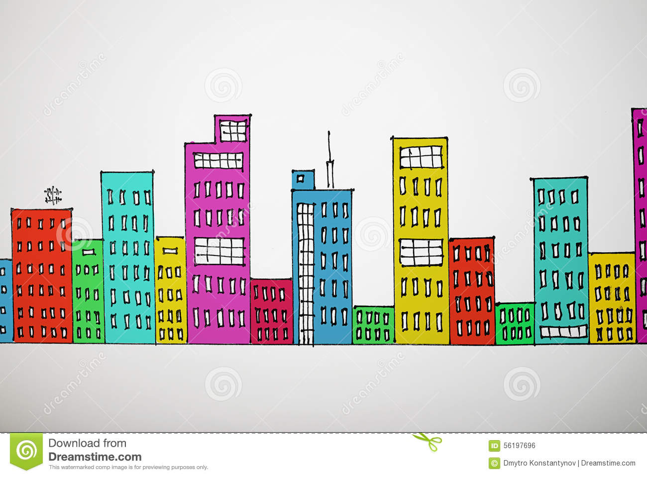 Many-coloured drawing cityscape