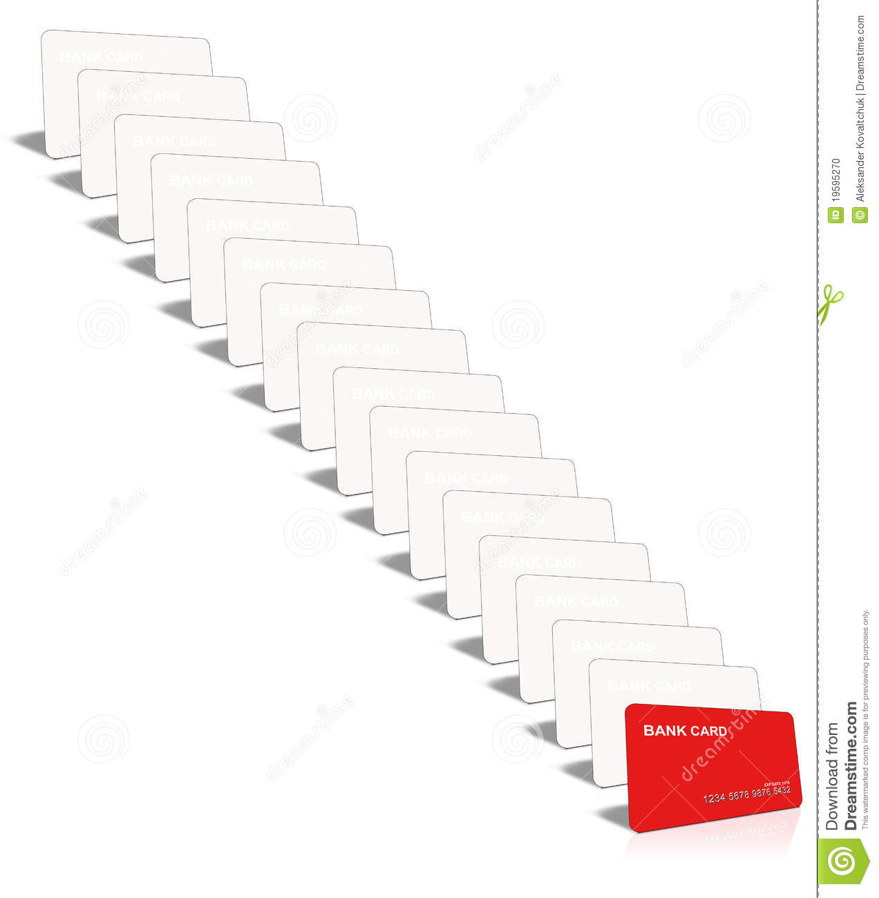 many credit card only one red stock illustration