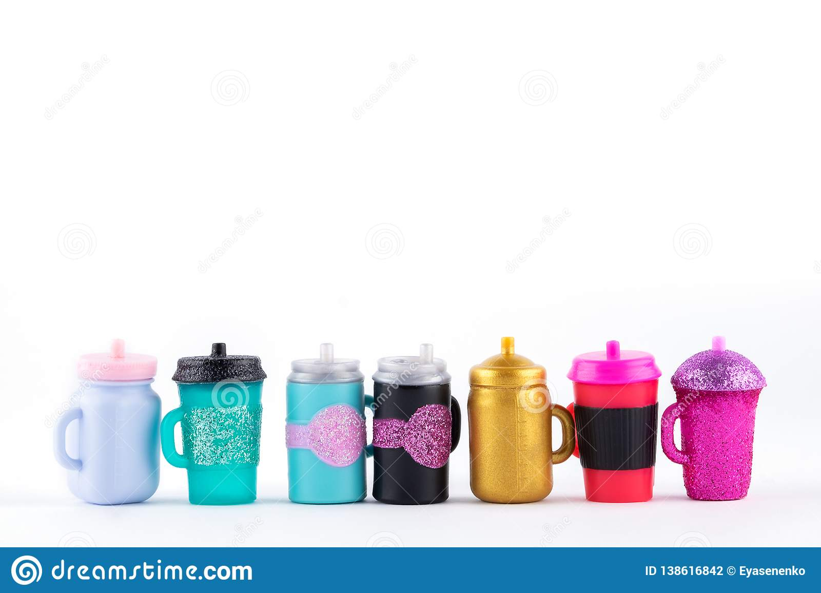 Many mug with a straw for drinking