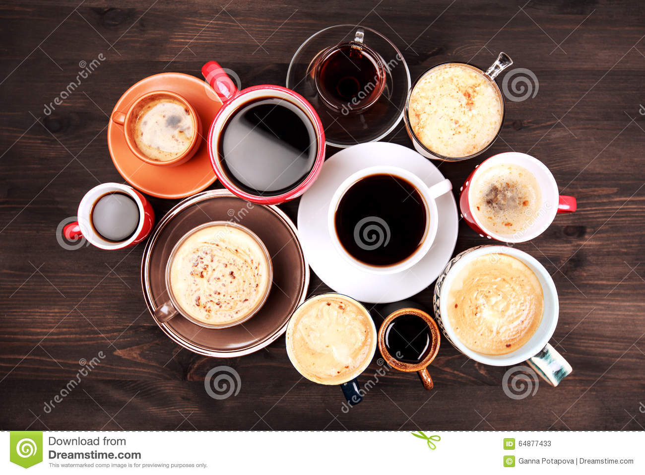 Many Cups Of Coffee On Wooden Table Stock Image Image