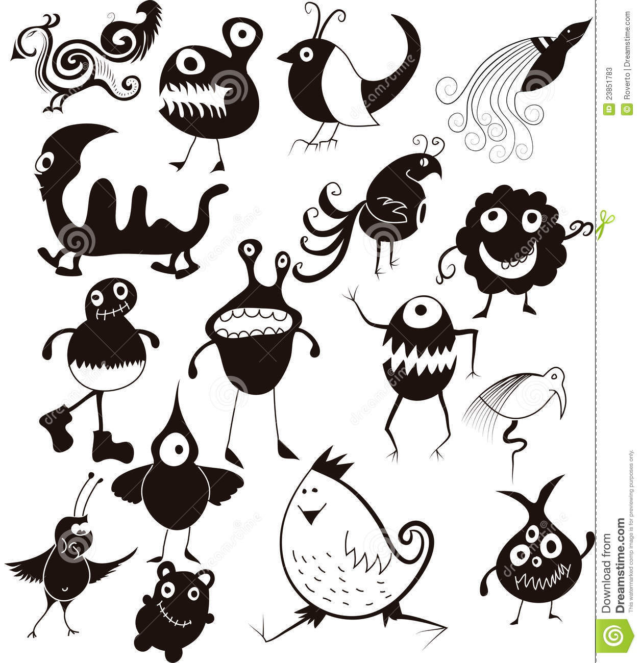 Many cute doodle characters stock vector image 23851783 for Doodle characters