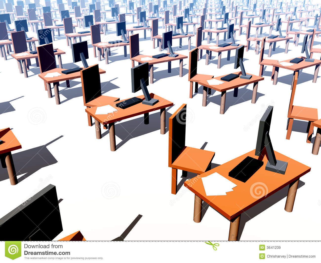 Many Desks With Chairs 1 Royalty Free Stock Images Image