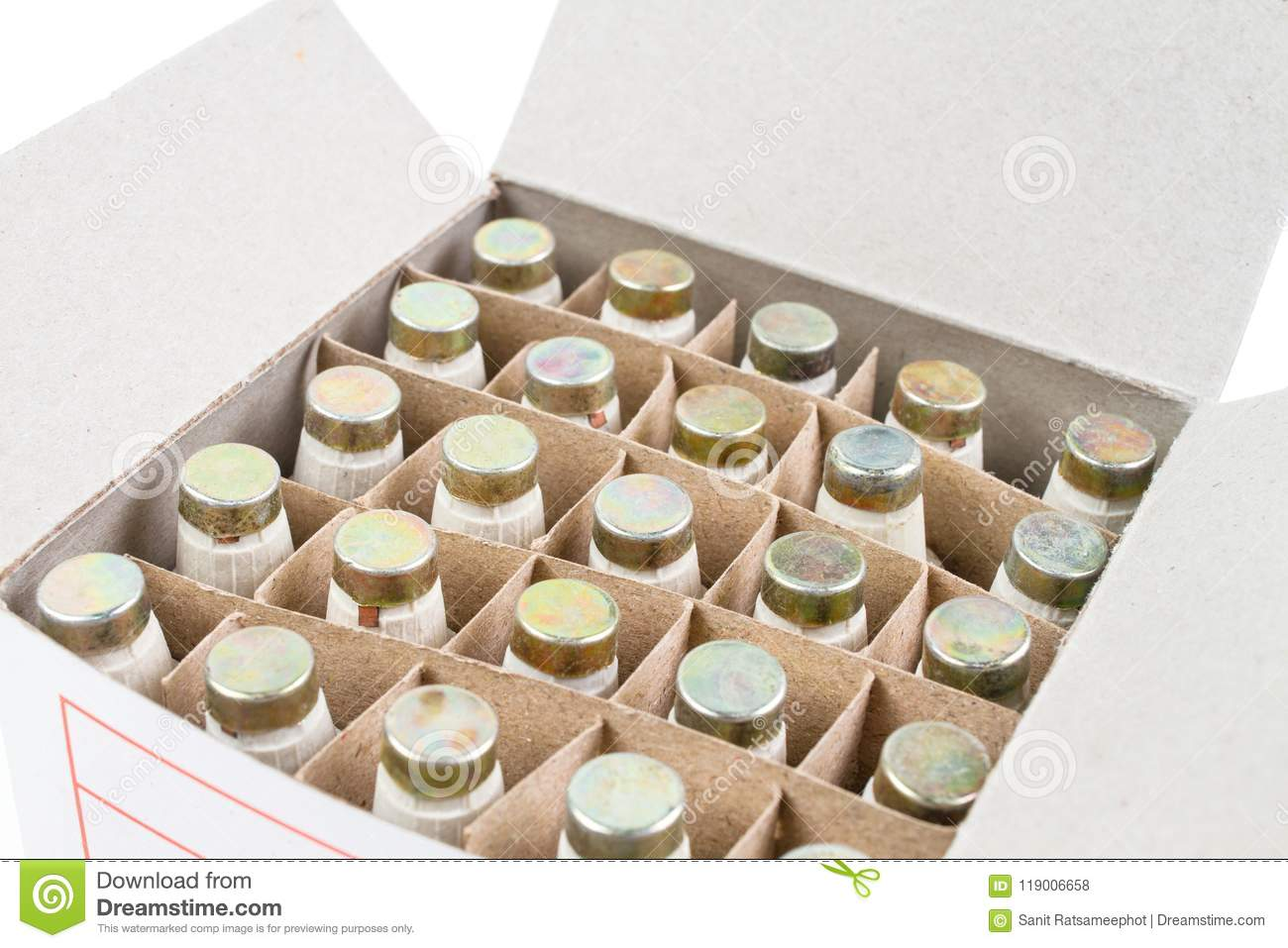Many Diazed Bottle Fuse In The Paper Box Package Stock Photo Cut Out