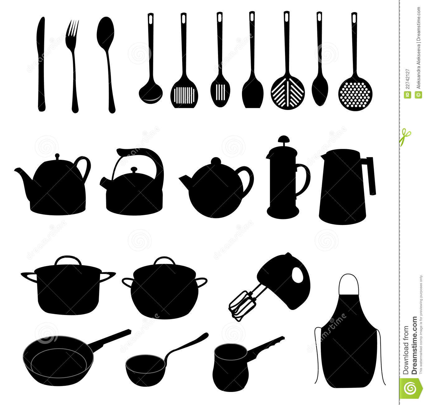 Many Different Dishes And Kitchen Objects Stock