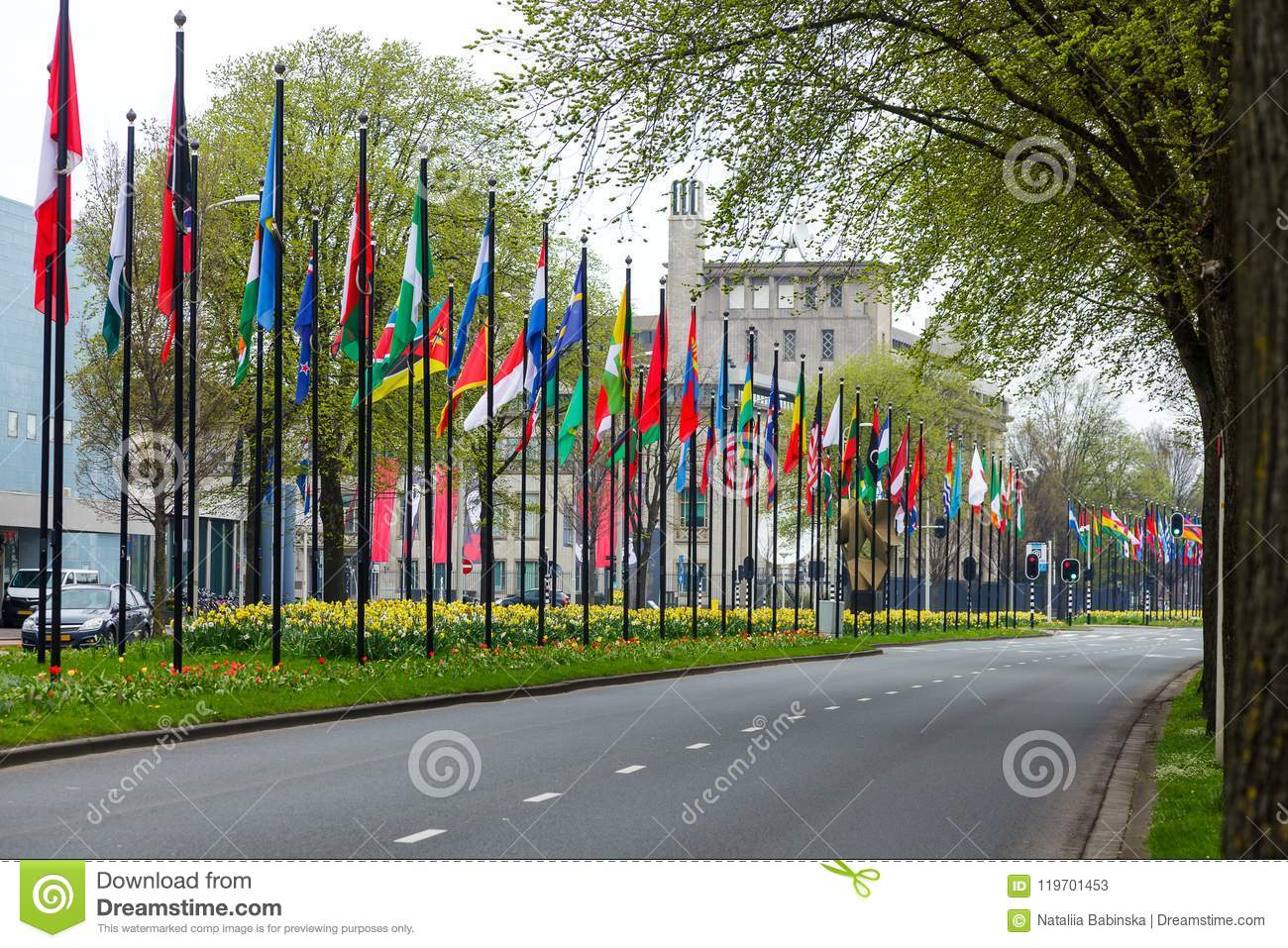 Many Different Flags Street Europe Members Union Building