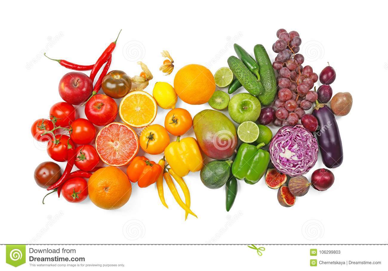 Many different fruits and vegetables