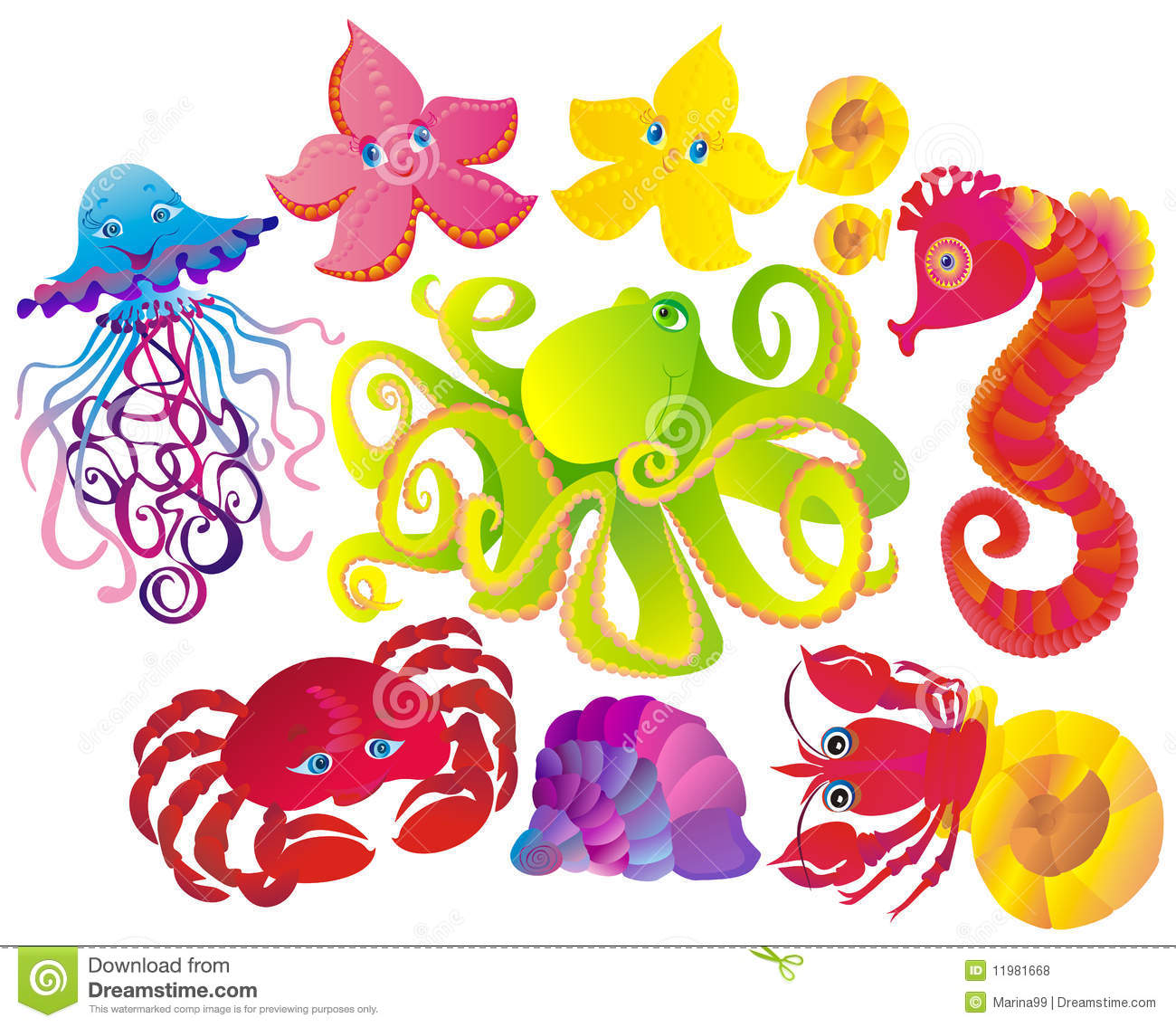 Many different sea animals. Vector
