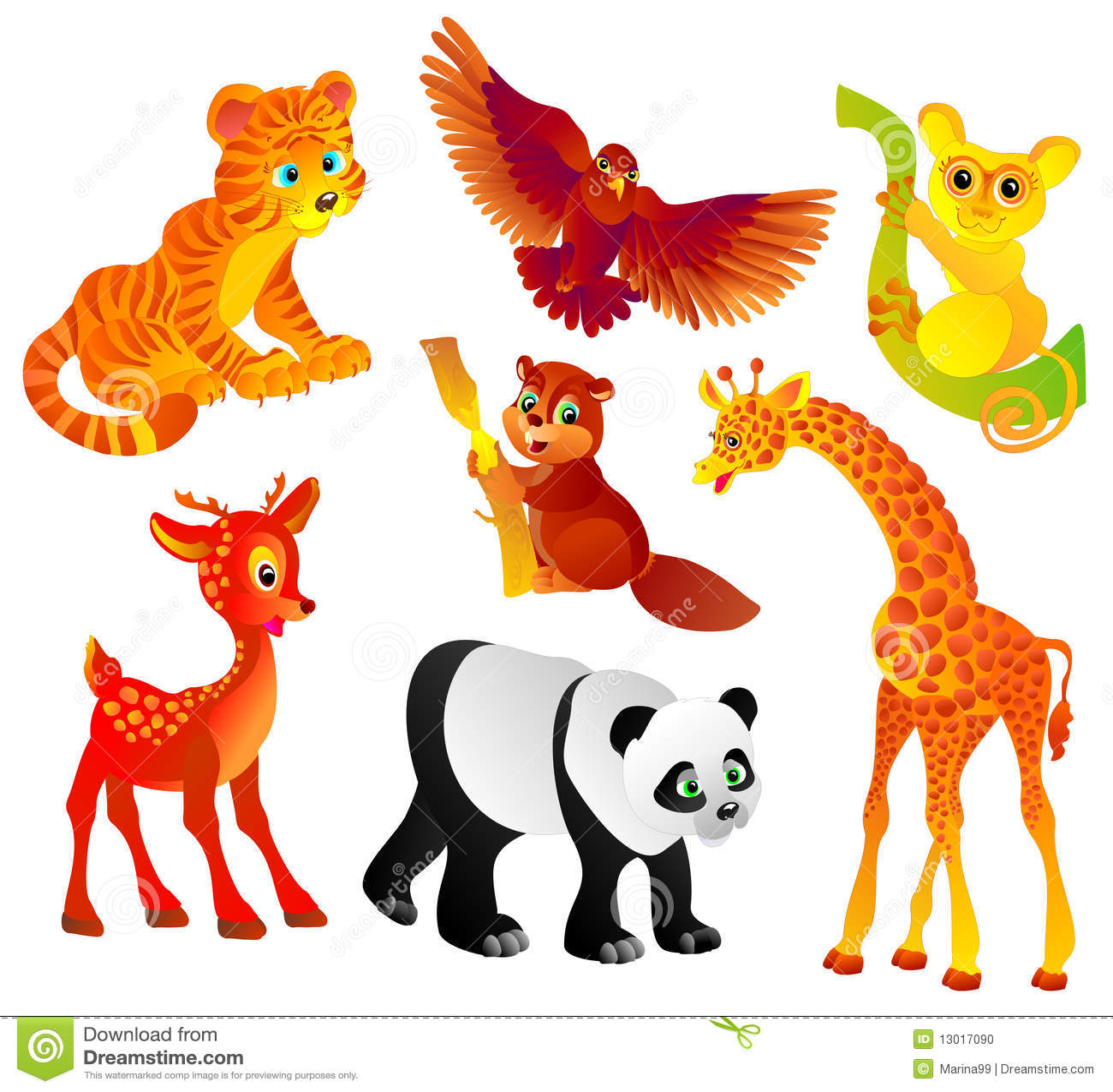 Many Different Wild Animals Vector Illustration Stock