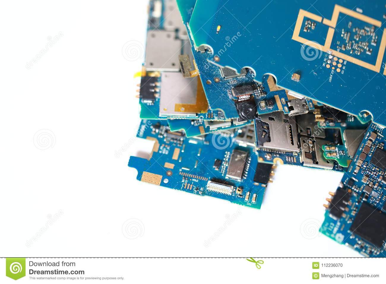 Many Discarded Circuit Boards Chip Circuitry Stock Photo Image As Before We Can Copy The Onto A Printed Board And On Graphics Card Isolated White Background Fall Scattered