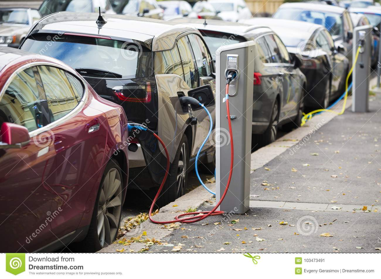 Many electric car are charged by charging stations