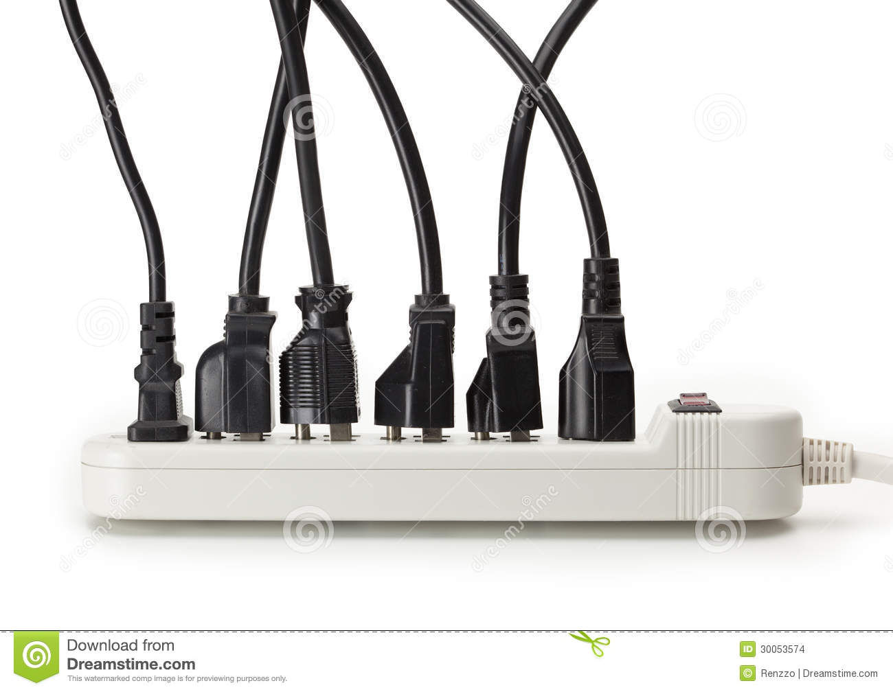 Many Electrical Cords Connected To A Power Strip Stock Photo - Image ...
