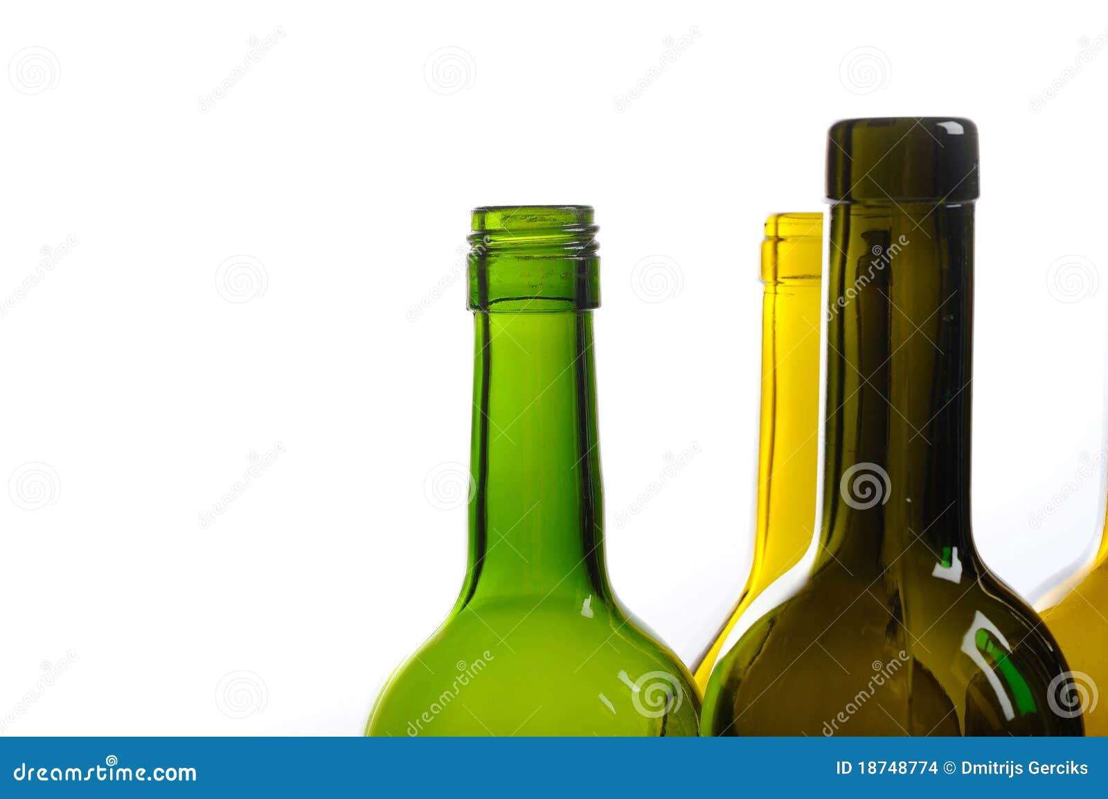 Many empty green wine bottles isolated on white stock for Green wine bottles