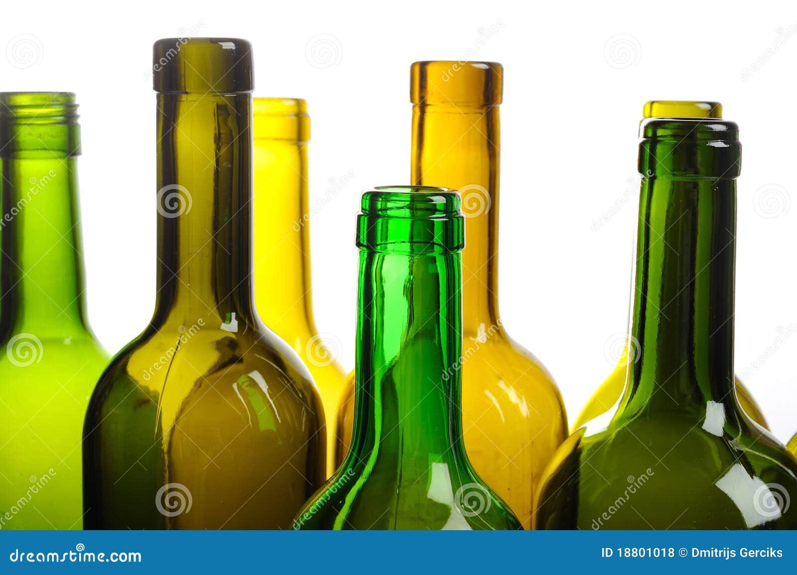 Many empty green wine bottles isolated on white royalty for Green wine bottles