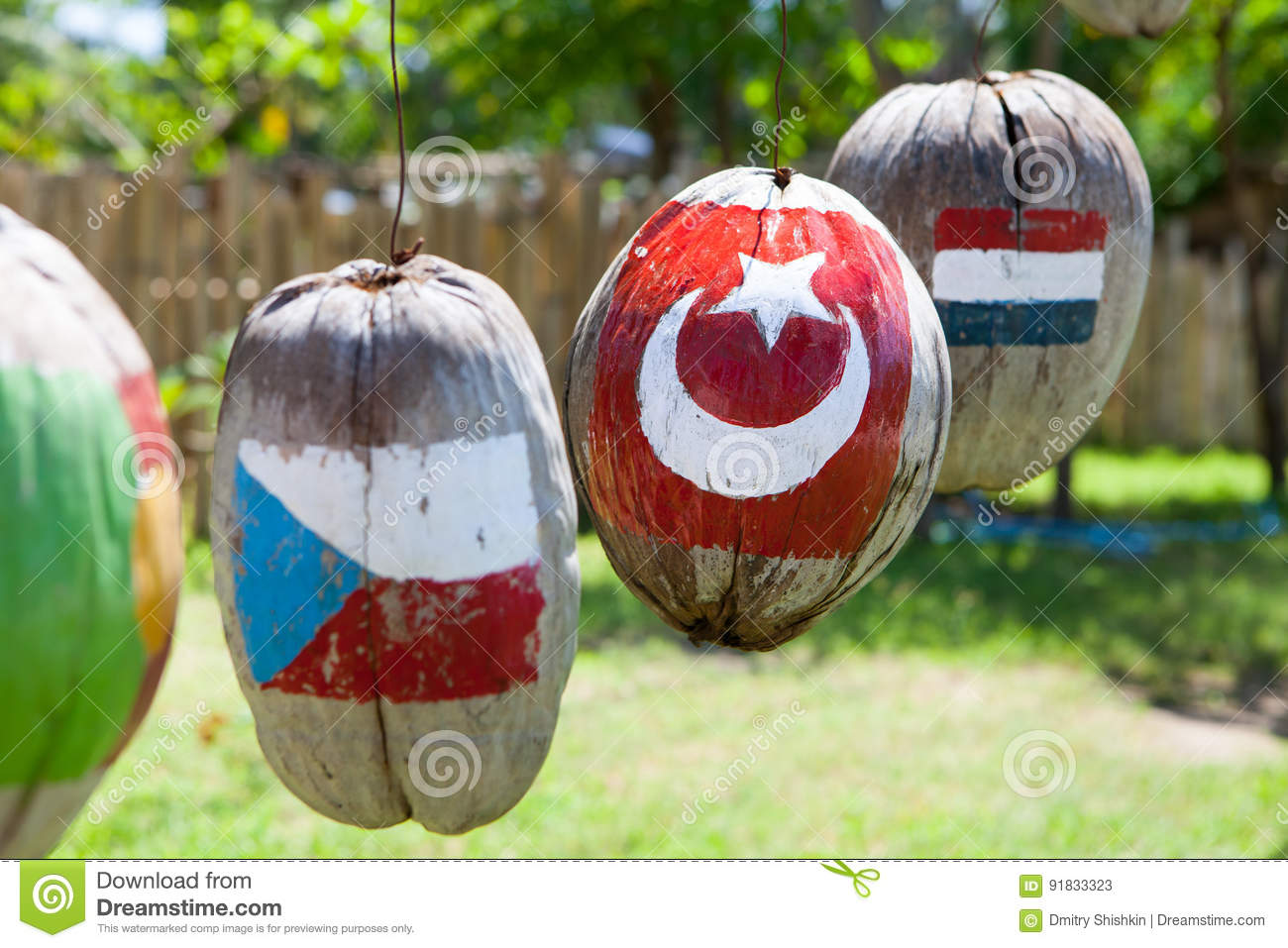 Many flags of countries painted on the coconuts