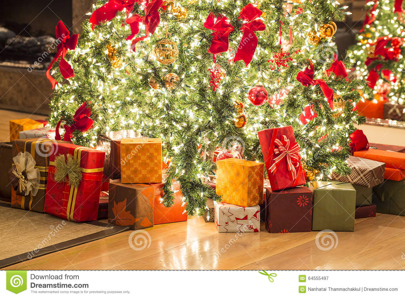 Many Gifts And Beautiful Christmas Tree On Floor Stock Image - Image ...