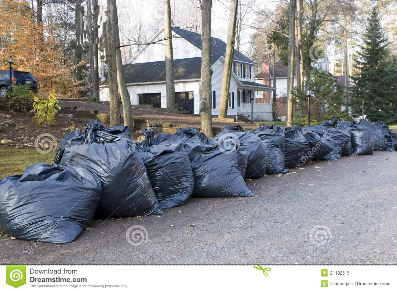 Many Green Garbage Bags At Curb Royalty Free Stock Photo - Image ...