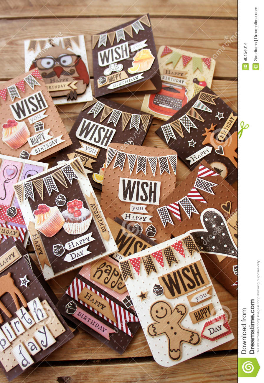many greeting cards on wood stock photo  image of notes