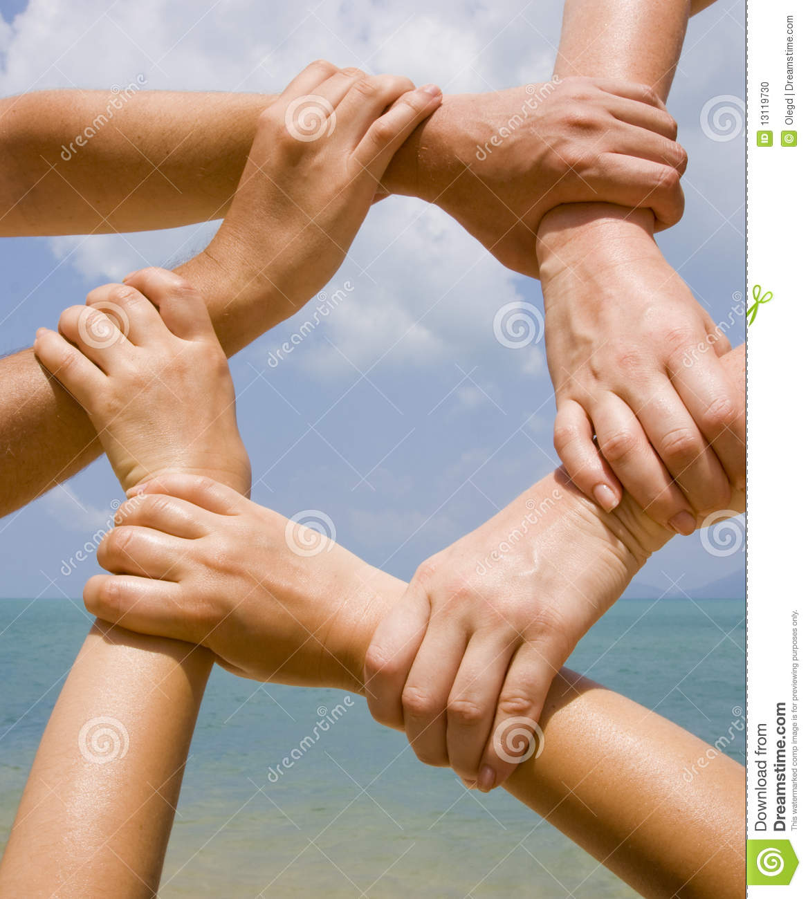 Many hands connecting to a Connecting Hands