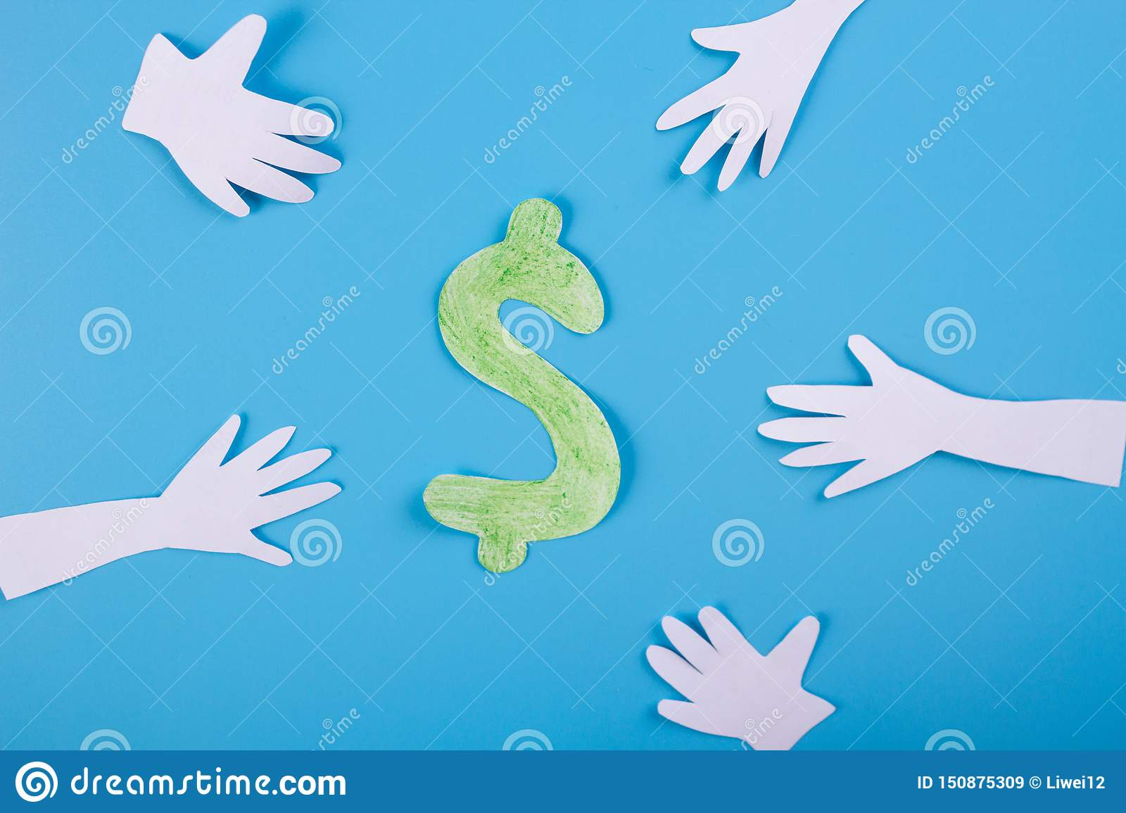 many hands extended to money