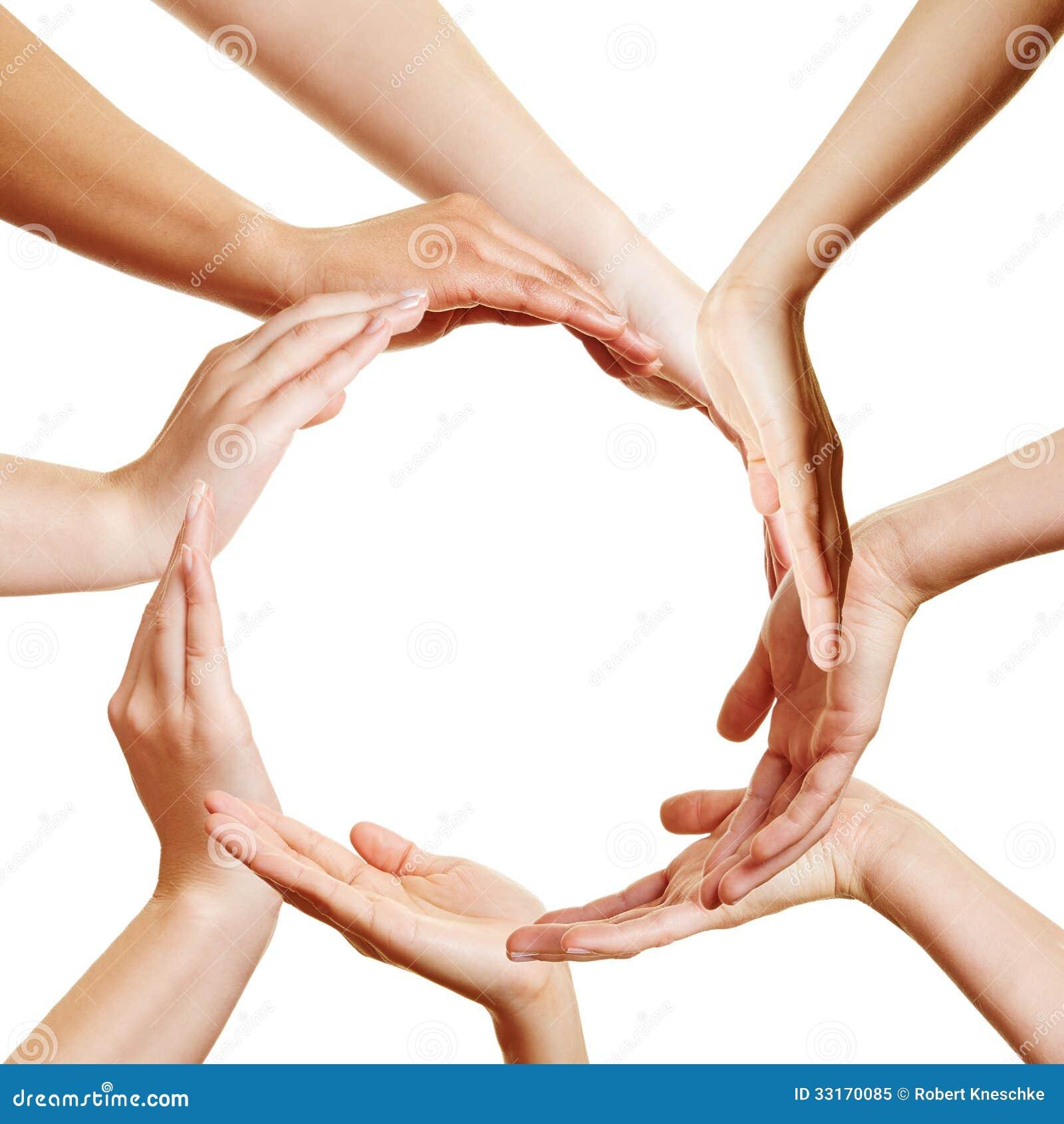 Many Hands Forming A Circle Royalty Free Stock Photo - Image: 33170085
