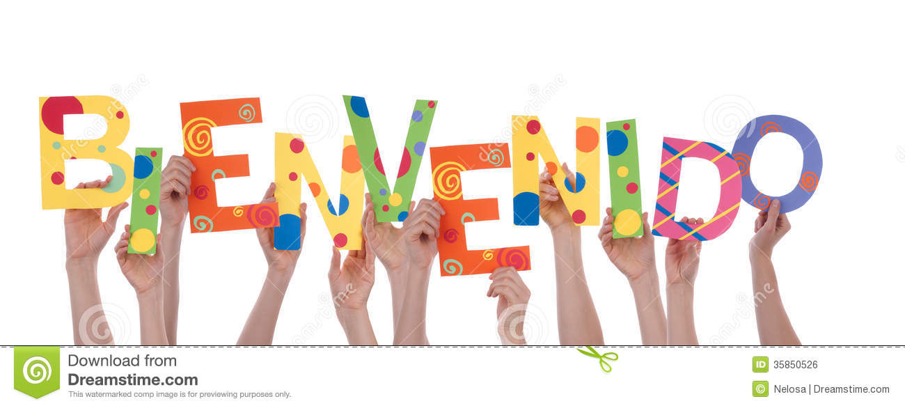 Many Hands Holding Bienvenido Royalty Free Stock Image  : many hands holding bienvenido colorful spanish word which means welcome isolated 35850526 from www.dreamstime.com size 1300 x 586 jpeg 76kB