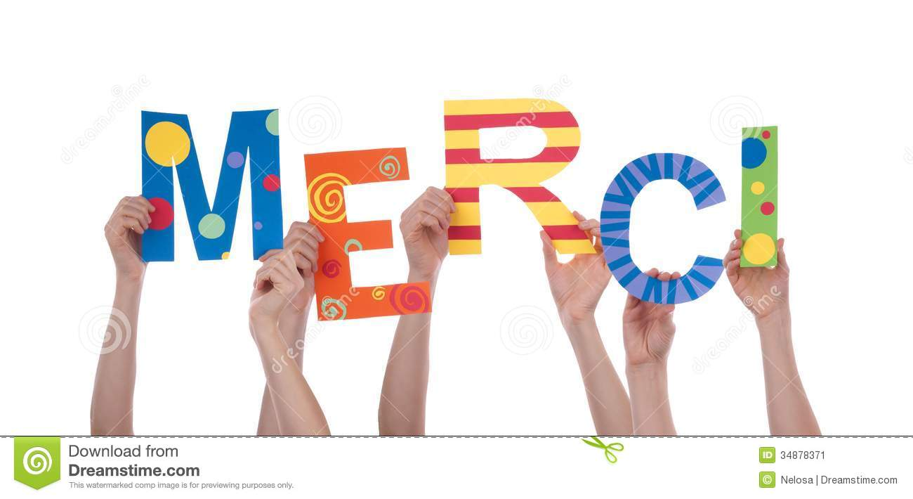 Many Hands Holding A Colorful Merci Stock Image Image