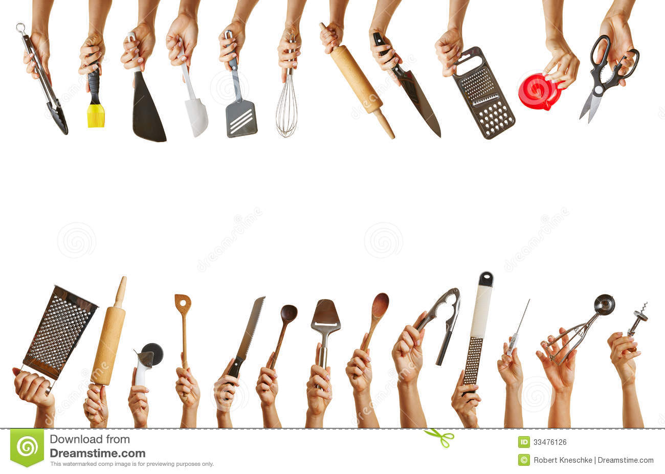 Many Hands Holding Different Kitchen Tools Royalty Free Stock