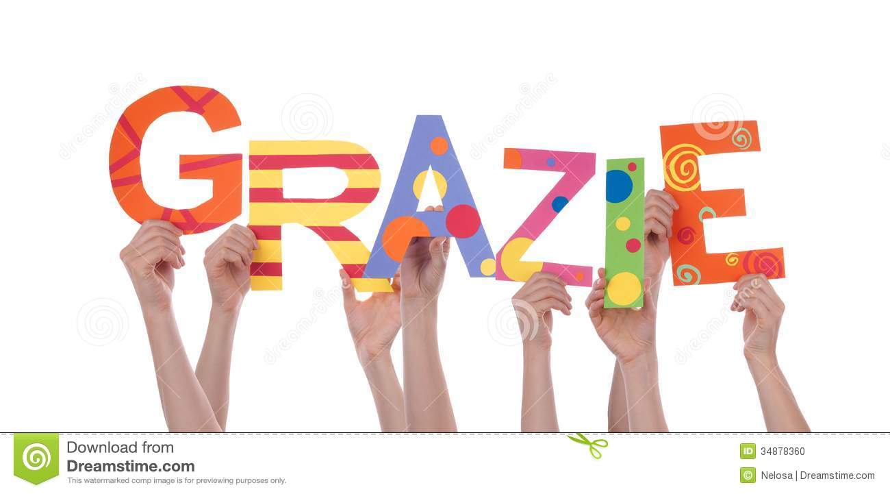 Many Hands Holding the Colorful Italian Word Grazie Which Means Thanks ...