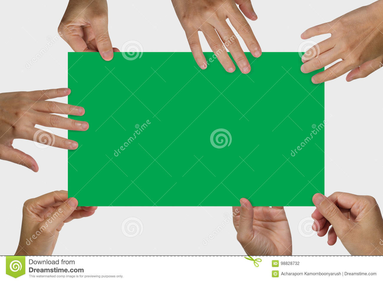 Many hands holding a white blank poster