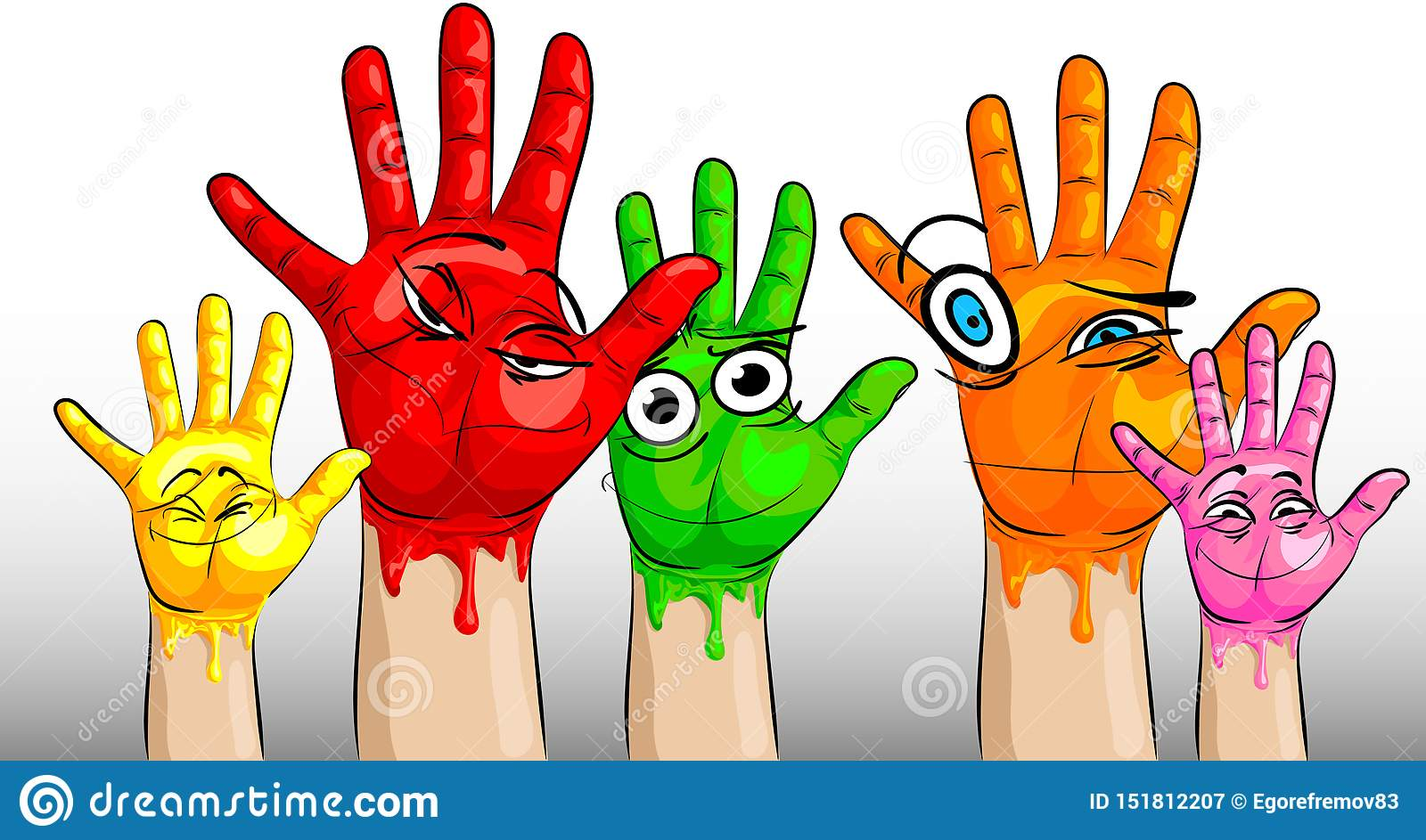 Many hands in multi-colored paint and with funny and funny faces on the palms