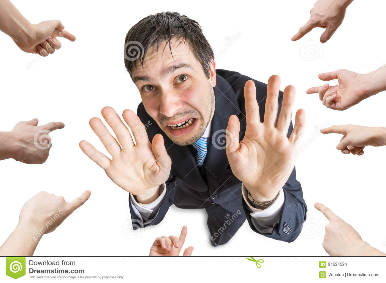 Many hands are pointing and blame stressed man. Isolated on white background. View from top