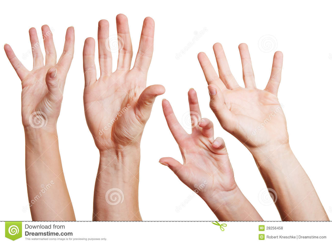 Many hands reaching out